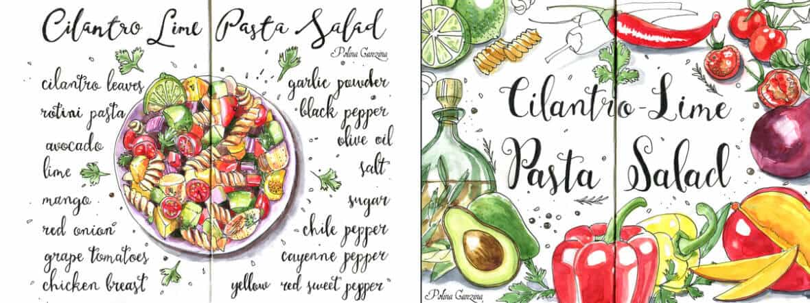 Cilantro-Lime_Pasta_Salad_ingredients__watercolor_recipe